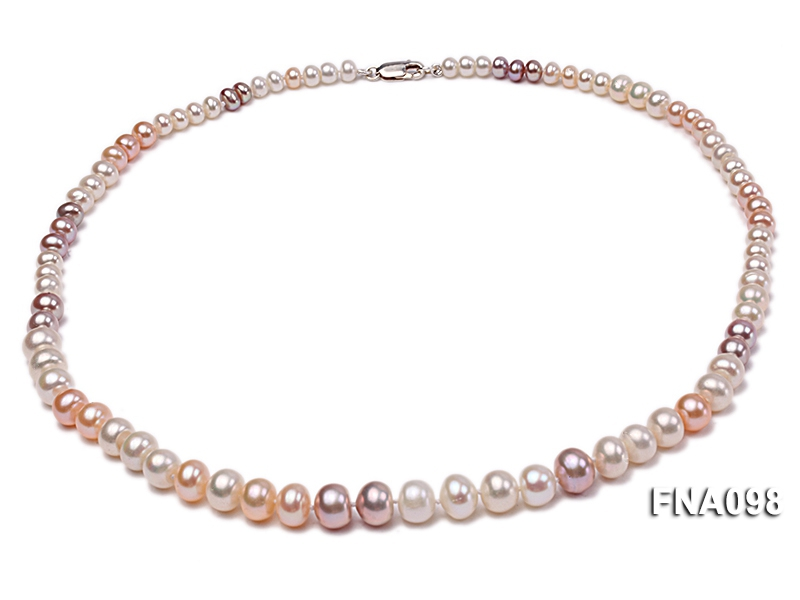 Classic 5-9.5mm Multi-color Oblate Freshwater Pearl Necklace