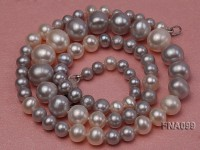 Classic Single-strand 5-9.5mm White and Grey Round Freshwater Pearl Necklace