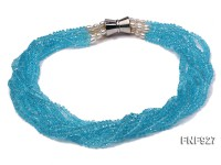Multi-strand Blue Faceted Crystal Beads and White Freshwater Pearl Necklace