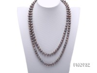 7-9mm grey round freshwater pearl necklace