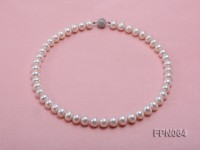 Classic 9.8-10.5mm AAA White Flat Cultured Freshwater Pearl Necklace