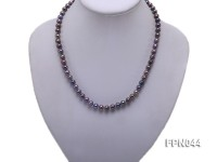Classic 6-7mm Dark-purple Flat Cultured Freshwater Pearl Necklace