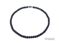 Classic 7-8mm Black Flat Cultured Freshwater Pearl Necklace