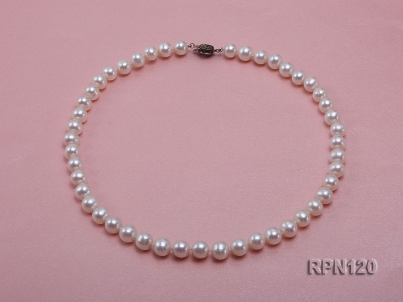 8.5-9mm Classic White Round Freshwater Pearl Necklace