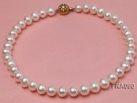 10.5-12.5mm natural white freshwater round pearl necklace