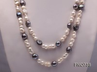 8*15mm natural white peanut-shaped freshwater pearl with grey baroque pearl necklace