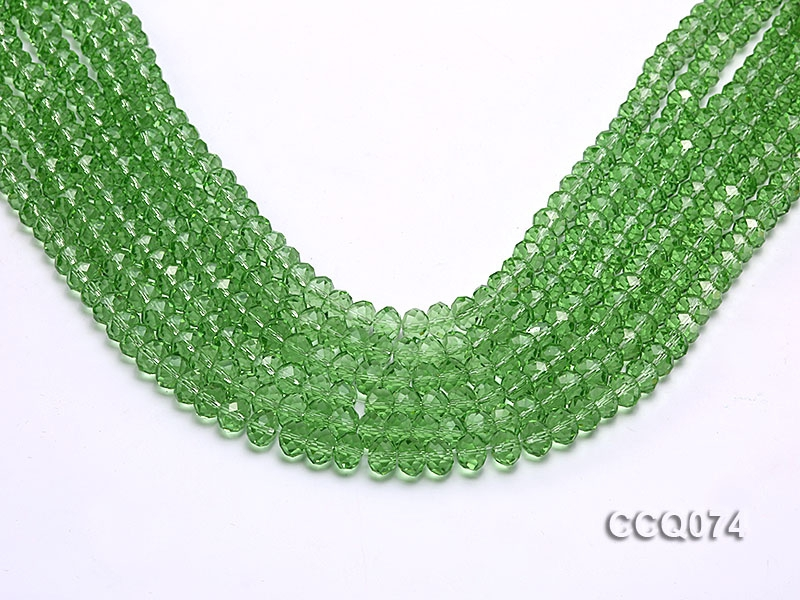 Wholesale 5x8mm Green Faceted Simulated Crystal Beads String
