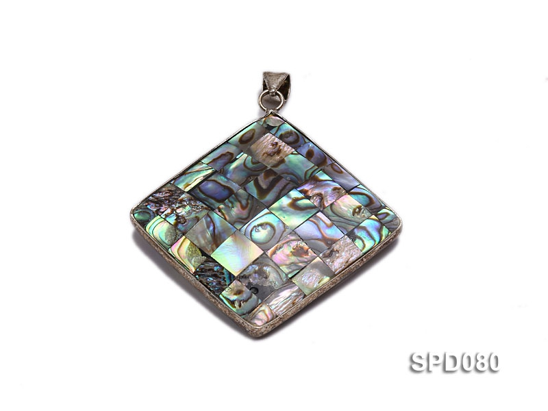 50mm Double-faced Rhombic Abalone Shell Pendant