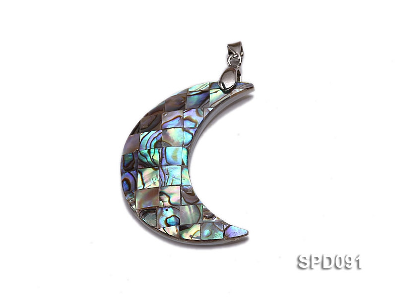 17x41mm Crescent-shaped Abalone Shell Pendant