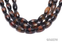 wholesale 13x30mm faceted black and red oval agate strings