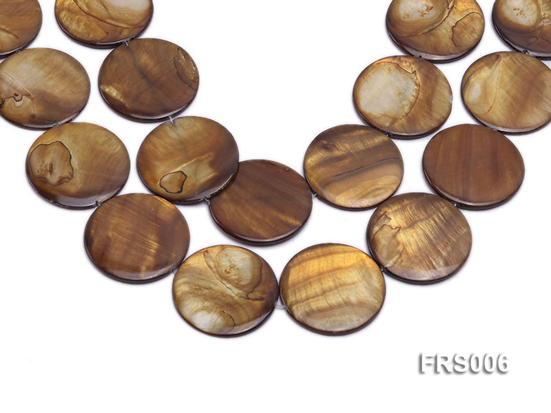 Wholesale 40mm Brown Disc-shaped Freshwater Shell String