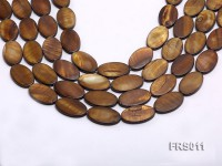 Wholesale 15x25mm Brown Oval Freshwater Shell String