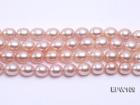 Wholesale AA-grade 10×11.5mm Pink Elliptical Freshwater Pearl String