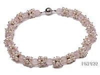 Rose Quartz and White Freshwater Pearl Necklace and Bracelet Set