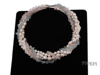 Five-strand Freshwater Pearl and Pink and Blue Crystal Chips Necklace