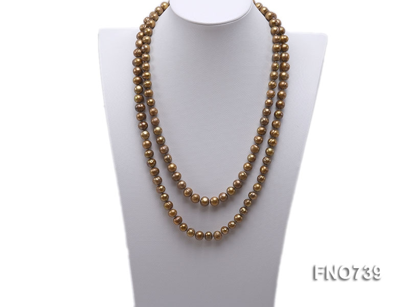 9-10mm coffee round freshwater pearl necklace