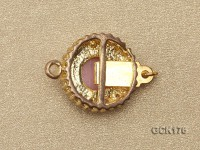 15mm Round Gold-plated Copper Clasp Inlaid with Pink Moonstone