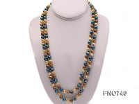 6-8mm yellow blue and coffee round multicolor freshwater pearl necklace