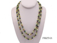 6-8mm light green and coffee round multicolor freshwater pearl necklace