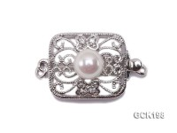 13.5*16mm Gold-plated Copper Clasp Inlaid with White Pearl