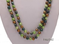 6-8mm light green black and dark coffee round multicolor freshwater pearl necklace