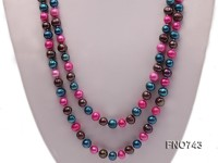 6-8mm pink blue and dark purple round multicolor freshwater pearl necklace