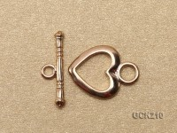 15*11.5mm Heart-shaped Golden Gilded Toggle Clasp