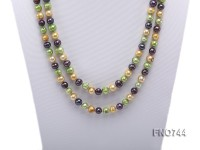 6mm multicolor flat freshwater pearl necklace