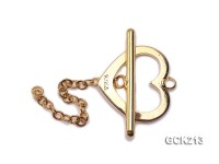 16*25mm Heart-shaped Golden Gilded Toggle Clasp