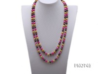 6-8mm yellow pink and coffee round freshwater pearl necklace