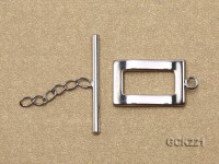 11*20mm White Gold-plated Toggle Clasp