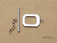 13*20mm White Gold-plated Toggle Clasp