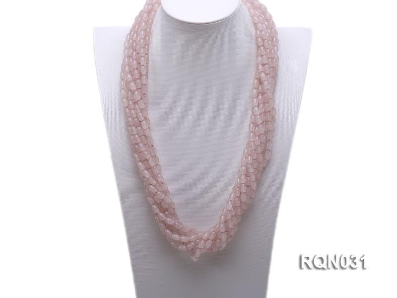 10-strand 6x9mm Oval Rose Quartz Necklace