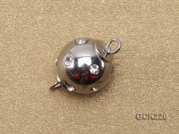 10mm White Gold-plated Ball Clasp Inlaid with Shiny Zircons