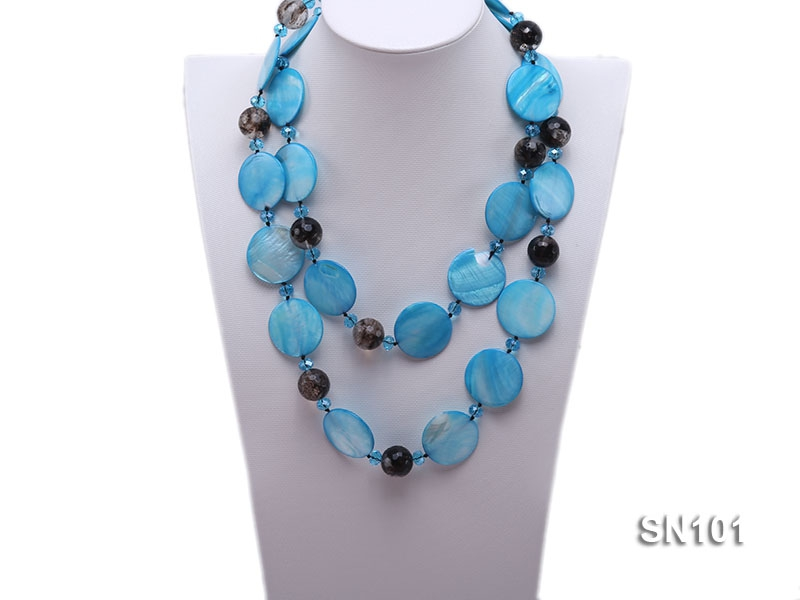 Blue Round Shell, Blue Crystal Beads and Smoky Quartz Beads Necklace