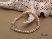 6-7mm pink freshwater pearl and crystal flower bracelet
