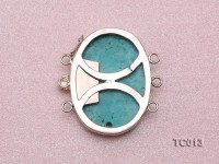 36x32mm Three-Row Sterling Silver Turquoise Clasp