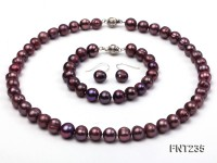 9mm Purple Freshwater Pearl Necklace, Bracelet and Stud Earrings Set