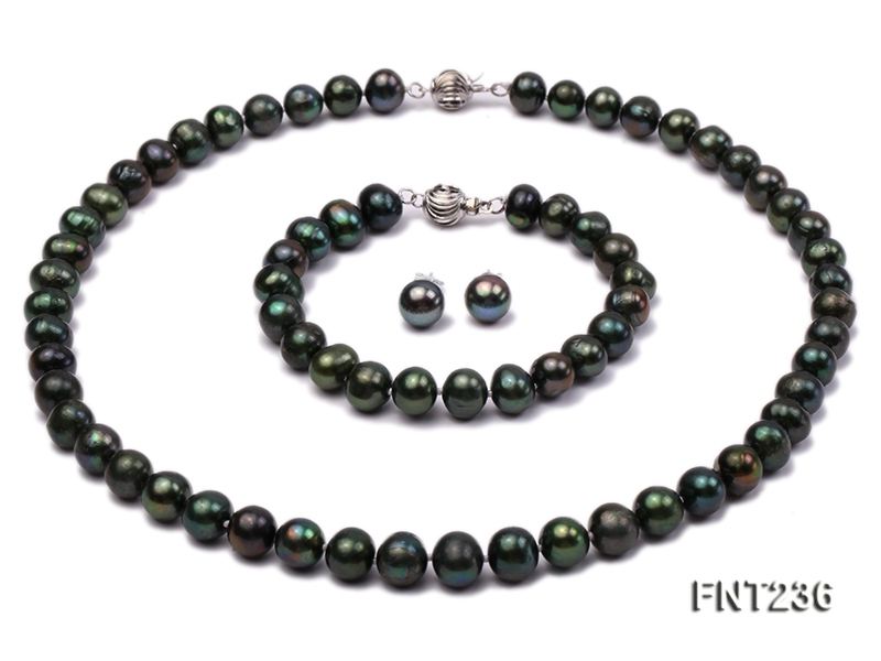 9mm Peacock Green Freshwater Pearl Necklace, Bracelet and Stud Earrings Set