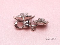 17*26mm Flower-shaped Gilded Magnetic Clasp Inlaid with Shiny Zircon