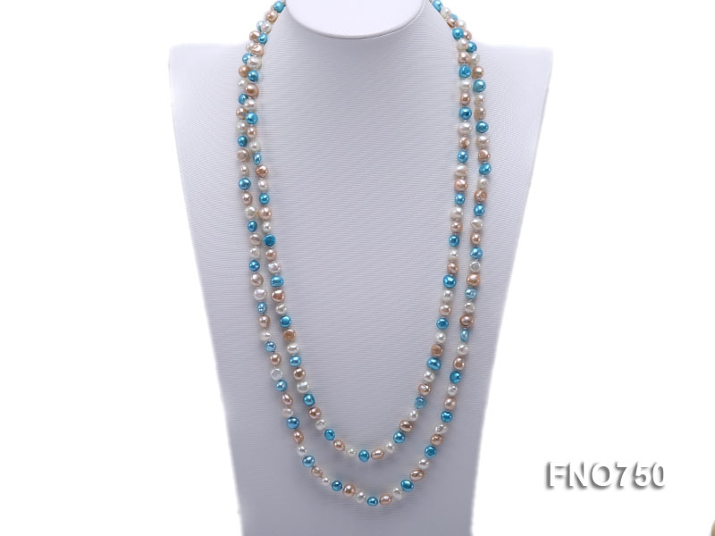 6mm white pink and blue multicolor flat freshwater pearl necklace