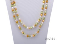 6mm white yellow and green multicolor flat freshwater pearl necklace