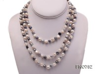 6mm white grey and black flat freshwater pearl necklace