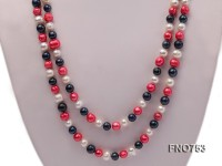 6mm white red and black round multicolor freshwater pearl necklace