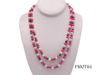 6mm white red and purple round multicolor freshwater pearl necklace