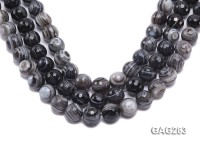 wholesale 16mm round faceted Black & White Agate Strings