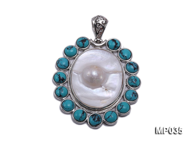 45x51mm oval mabe pearl pendant with bule turquoise