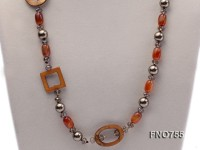 11mm mabe pearl with natural cirtine and agate necklace with yellow shells