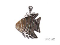 45x37mm Fish-shaped Black Shell Pendant