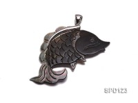 30x57mm Fish-shaped Black Shell Pendant